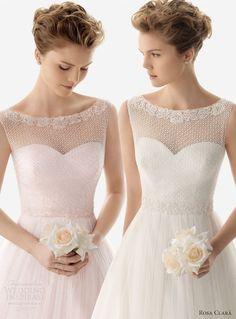 soft by rosa clara 2014 umara pink white ivory color wedding dress sleeveless bateau boat neck