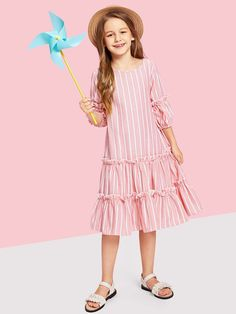 To find out about the Girls Lantern Sleeve Layered Ruffle Striped Dress at SHEIN, part of our latest Girls Dresses ready to shop online today! Striped Dress Outfit, Dress Outfits, Kids Outfits, Dress Clothes, Girls Fashion Clothes, Girl Fashion, Fashion Outfits, Trendy Clothing, Fashion Black
