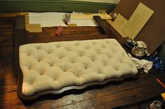 DIY tufting - first good tutorial I've seen on REAL tufting, most of them just stick covered buttons on a cushion and call it done.