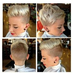 Top right is my fav, platinum pixie undercut disconnected asymmetry. Undercut Hairstyles, Pixie Hairstyles, Pixie Haircut, Pretty Hairstyles, Undercut Pixie, Love Hair, Great Hair, Short Hair Cuts, Short Hair Styles
