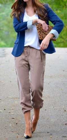 #fall #outfits ·  Blue Cardigan // White Top // Pants // Pumps