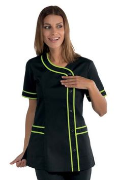 Casacca Nero + verde mela Donna Spa Centro Benessere Solarium M/M Spa Massage, Long Sleeve, Sleeves, Lima, Women, Salons, Ideas, Fashion, Hairdresser