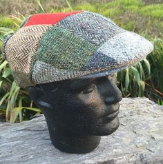 181d99cf575 Irish Aran Donegal Tweed Flat Red Patch Cap Tweed Hat Driving Patchwork  Hatman