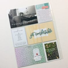 Get Comfortable, by Terry Boyer, Guest Designer, using the Moments collection from www.cocoadaisy.com #cocoadaisy #kitclub #scrapbooking #DITL #projectlife #pocketpages #tabs #tags #journaling #stamping #diecuts
