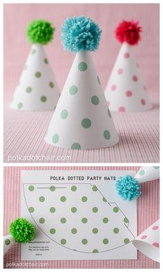 FREE printable Polka Dot Party Hats (+DIY pompom tutorial)