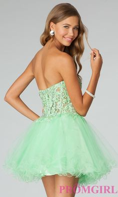 Baby Doll Prom Dress, JVN by Jovani Strapless Corset Dresses- PromGirl