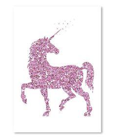 Americanflat Pink Glitter Unicorn Wall Art   zulily