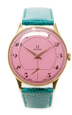Pink Gold Arabic Painted Face Vintage Omega Watch by CMT Fine Watch and Jewelry Advisors - Moda Operandi