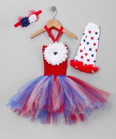 Take a look at this Red, White & Blue Fourth of July Tutu Dress Set - Toddler by Fourth of July Boutique on #zulily today!