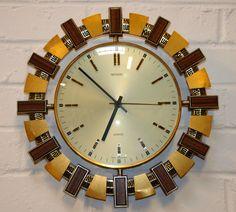 Vintage Retro 1970s Metamec Brass Wood Wall Clock Original Battery Movement FWO