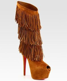 Had no idea they were Louboutins but I <3 these!!   Christian Louboutin - Highness Tina Suede Fringe Knee-High Boots USD2295