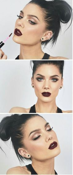 Best makeup lips matte linda hallberg 55 Ideas - Makeup Looks Yellow Dark Skin Makeup, Natural Eye Makeup, Lip Makeup, Makeup Eyeshadow, Beauty Makeup, Makeup Brushes, Drugstore Lipstick, Makeup With Dark Lips, Dark Lipstick Makeup