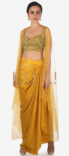 Mustard Skirt In Cowl Drape Matched With Embroidered Blouse And Fancy Jacket Online - Kalki Fashion Dress Indian Style, Indian Dresses, Indian Outfits, Pakistani Dresses, Designer Party Wear Dresses, Indian Designer Outfits, Drape Skirt Pattern, Stylish Dresses, Fashion Dresses
