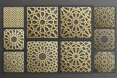 Set of 19 backgrounds with gold seamless pattern on black in islamic style