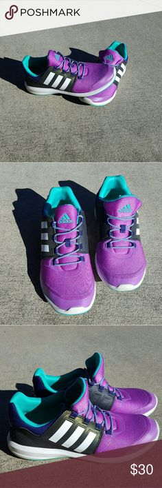 Kids Adidas purple and grey running  shoes Worn twice Kids size 4.5 Can fit a women's size 6.5  Memory foam sole No Trades Adidas Shoes Sneakers