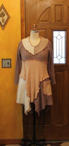 Lagenlook tunic dress long sleeve /cappuccino and cream by MilaLem, $78.00