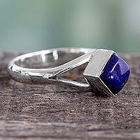 Lapis lazuli single stone ring, 'Regal Blue' - Artisan Crafted India Unisex Silver Ring with Lapis Lazuli
