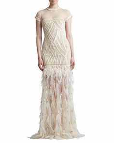 bottom section only 'Beaded Embroidered Feather Skirt Gown  by Naeem Khan at Neiman Marcus.
