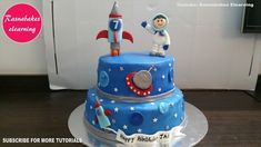 how to make space galaxy planet birthday cake design ideas decorating tutorial video at home Birthday Cake Gift, Cartoon Birthday Cake, Friends Birthday Cake, Animal Birthday Cakes, Frozen Birthday Cake, Happy Birthday Cakes, Boy Birthday, Birthday Cards, Simple Birthday Cake Designs