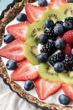 No-bake greek yogurt fruit tart. 18 Crowd-Pleasing Yogurt Desserts That Are Secretly Kind of Good for You #purewow #dessert #recipe #food #yogurtdesserts #healthydesserts #greekyogurt #easydesserts #yogrutrecipes #fruittart #nobake