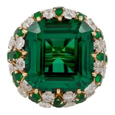 DAVID WEBB Emerald Diamond Ring | From a unique collection of vintage dome rings at http://www.1stdibs.com/jewelry/rings/dome-rings/