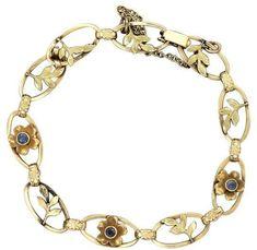 4f2baf79695d 14K Yellow Gold Sapphire Bracelet Pulseras