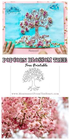 Blossoms Popcorn Kids Craft Textured Process Art encourages creativity in preschoolers and kindergartners and promotes fine motor control. Toddler Art Projects, Cool Art Projects, Craft Projects For Kids, Craft Ideas, Spring Crafts For Kids, Easy Crafts For Kids, Art For Kids, Montessori Homeschool, Montessori Activities