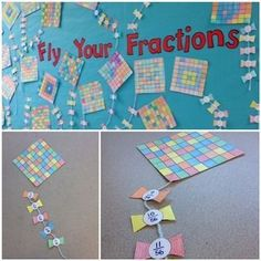 These colorful fraction kites will brighten up your room/boards! It's simple - you have the kids choose five colors they want to use on their kite grid. They make their own design. After, on the ribbons, they have to find what fraction of the kite is the corresponding color.