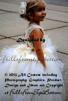 Ivory Flower Girl Dress . Rosette Halter . von frillsfromtop2bottom