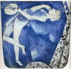 """The Painter: To the Moon,"" 1917, Marc Chagall. Gouache and watercolor on paper. Private Collection."