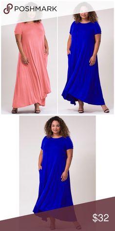 7909e661a5 PLUS SIZE  Royal Blue Short Sleeve Maxi Dress Plus Size Short Sleeve Maxi  Dress with