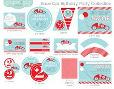 Race Car Birthday Party Decorations & Invitation by PaperAndPip