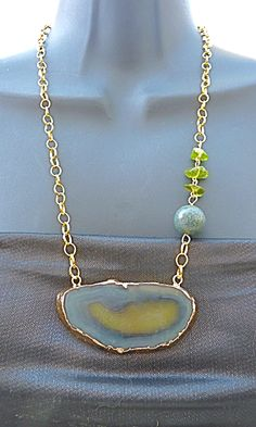 Items similar to Green & Blue Geode Slice Statement Necklace, Mothers Day gift for women lapis lazuli necklace peridot Geode Necklace druzy necklace Easter on Etsy