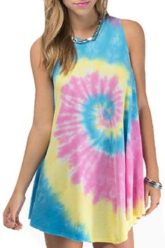 abaday | Circle Rainbow Print Loose Dress, The Latest Street Fashion