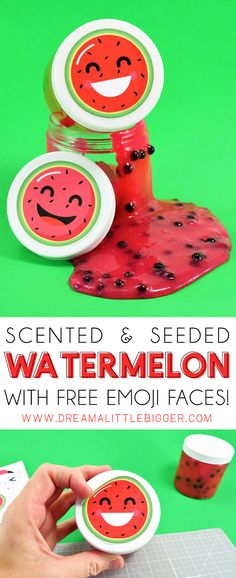 It& summertime slime time! Learn how to make scented slime. with this watermelon slime tutorial, complete with pips! Slime Craft, Diy Slime, Slime Names, Free Emoji, Diy And Crafts, Crafts For Kids, Emoji Faces, Slime Recipe, Summer Bucket Lists