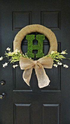 Spring and Summer Wildflower, Burlap, Moss Monogram Front Door Wreath or Wedding Decoration Wreath