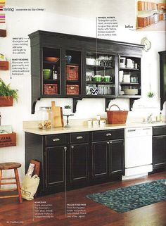 I like the crown molding added to the upper cabinets. I'm also thinking about painted black cabinets. Very sleek. Black Kitchen Cabinets, Open Cabinets, Painting Kitchen Cabinets, Black Kitchens, Kitchen Paint, Kitchen Redo, Home Kitchens, Kitchen Remodel, Kitchen Design