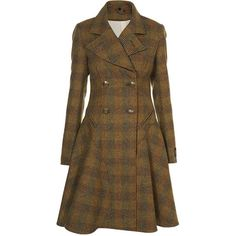 Premium Wool Check Corset Coat ($315) ❤ liked on Polyvore