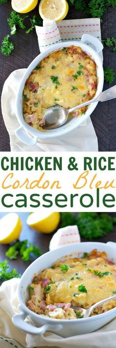 You're going to love how easy this dump-and-bake Chicken and Rice Cordon Bleu Casserole comes together! Use some rotisserie chicken. Topped with grated Swiss cheese, this creamy meal is a quick comfort food dinner that the whole family will devour! Casserole Dishes, Casserole Recipes, Chicken Casserole, Casserole Ideas, New Chicken Recipes, Chicken Meals, Chicken Rice, Swiss Chicken, Chicken Soup