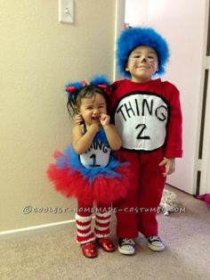Adorable One Year Old Thing 1 and Three Year Old Thing 2 Costumes ... This website is the Pinterest of costumes