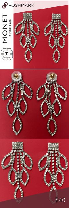 """Silver Rhinestone Chandelier Earrings by Monet Silver Rhinestone Chandelier Earrings by Monet, You'll look as Elegant as a Swan in these Glam Earrings!  Features a Dangling Cluster of Rhinestones in a Gorgeous Leaf Design and a Post Back Closure, Measures 2 7/8"""" in Length, Used in Excellent Condition Monet Accessories"""