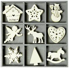 cArt-Us 10.5 x 10.5 cm Wooden Box Containing Christmas Embellishments: Amazon.co.uk: Kitchen & Home