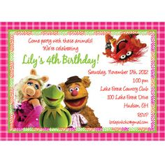 Muppets in Pink Birthday Invitation-Muppets, Fozzie Bear, Kermit the ...