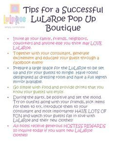 Interested In Learning More About Hosting A LuLaRoe Pop Up Boutique Description