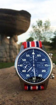 Maurice de Mauriac watch with the Union Jack Nato strap.