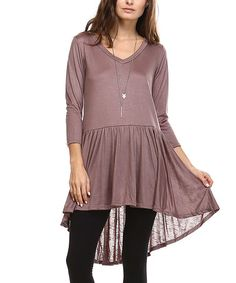 Look what I found on #zulily! Taupe Ruffle Hi-Low Tunic - Plus #zulilyfinds