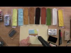 >>>>PAINTING WITH EMBOSSING POWDERS<<<<<<        How to Make a Scenic Villa Card by Painting with Embossing Powder