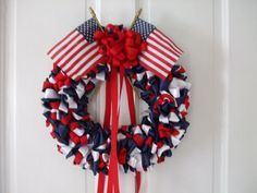 patriodic wereaths | Patriotic 12 inch Ribbon Wreath Red White and by bittersweetdesign