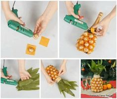 Charm the fancy pants off of your party guests by dressing up a bottle of champagne in a pineapple costume made of Ferrero Rocher.