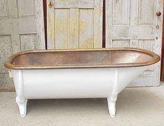 Antique 1890's copper lined tin tub, cast iron legs, oak rim